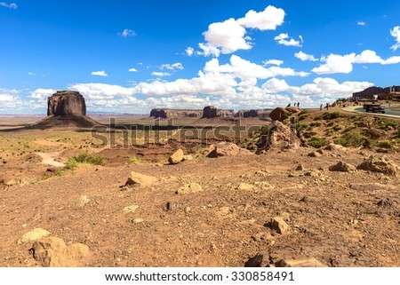 scenic overlook of Monument Valley - stock photo