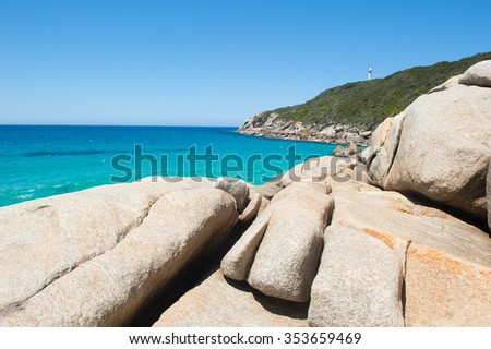 Scenic panorama of cliff coast of Torndirrup National Park, Albany, Western Australia, turquoise Southern Ocean, blue sky, copy space. - stock photo
