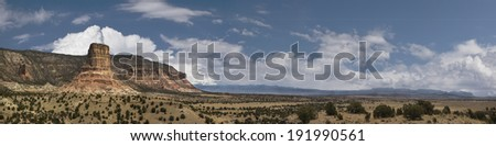Scenic panorama taken at Chimney Rock in the San Rafael Swell of Central. Eastern Utah in Emery County. - stock photo