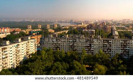 Scenic panoramic rooftop view of Omsk city and Irtysh river at august morning