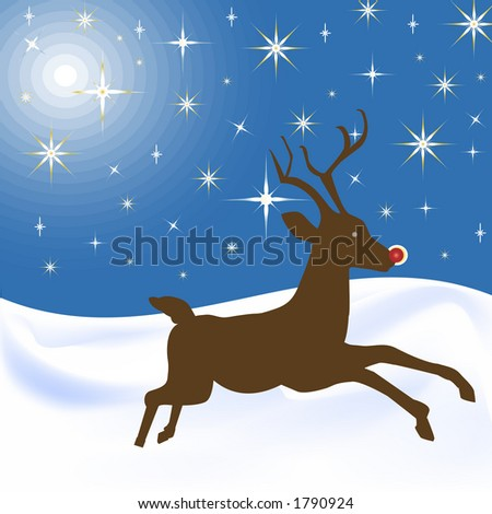 scenic pasture at night with rudolph the rednosed reindeer - stock photo