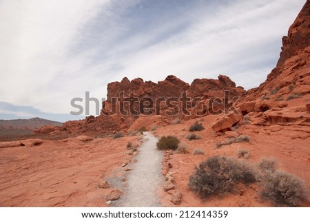 Scenic path in Valley of Fire State park, Nevada, USA - stock photo