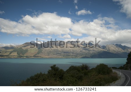 Scenic path view of Lake Wakatipu, Glenorchy Queenstown Road, South Island, New Zealand