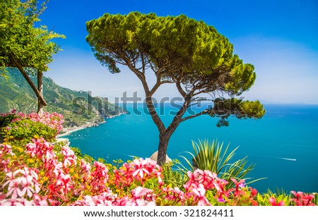 Scenic picture-postcard view of famous Amalfi Coast with Gulf of Salerno from Villa Rufolo gardens in Ravello, Campania, southern Italy
