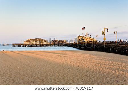 scenic pier in Santa Barbara in sunset - stock photo