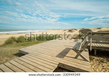 Scenic Punta del Diablo beach in eastern Uruguay - stock photo