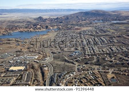Scenic recreation area of the Dells with Willow and Watson Lake in Prescott, Arizona - stock photo