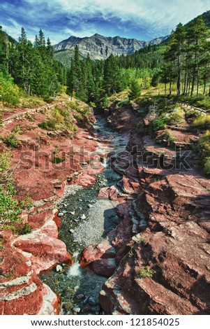 Scenic Red Rock Canyon Waterton National Park Alberta Canada - stock photo