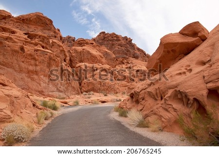 Scenic road in Valley of Fire State park, Nevada, USA - stock photo