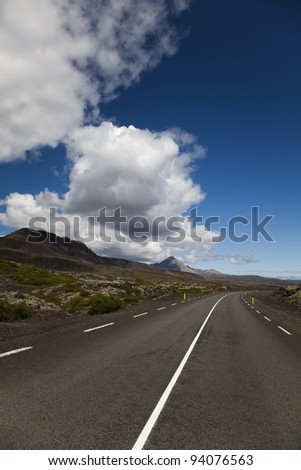 Scenic road on Iceland - stock photo