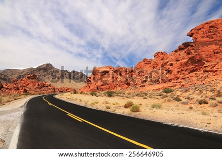 Scenic road through Valley of Fire State park, Nevada, USA - stock photo
