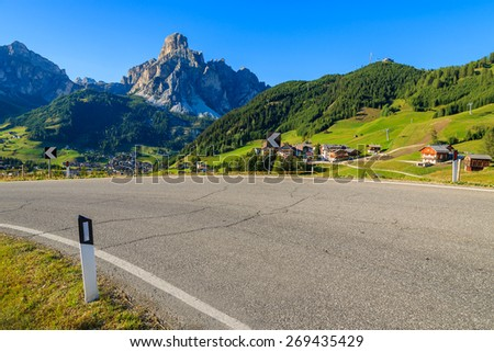 Scenic road to La Villa alpine village in Dolomites Mountains, South Tyrol, Italy - stock photo