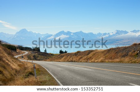 Scenic Road to Mount Cook National Park, New Zealand - stock photo