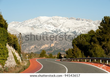 Scenic road towards Guadalest, Alicante, Spain amidst beautiful winter scenery - stock photo
