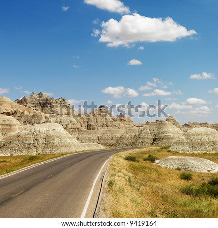 Scenic roadway in Badlands National Park, North Dakota. - stock photo