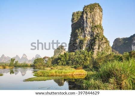 Scenic rocks and river in southern China.
