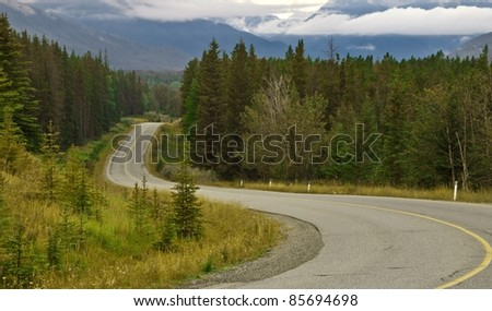 Scenic route in Banff National Park - stock photo