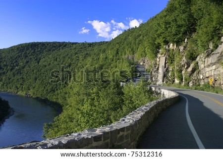 Scenic Route 97 in Catskills Mountains, upstate New York. - stock photo