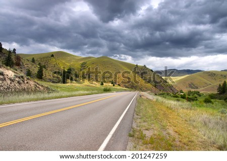 Scenic route through the hills in rural Montana - stock photo