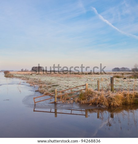 Scenic rural landscape in winter setting