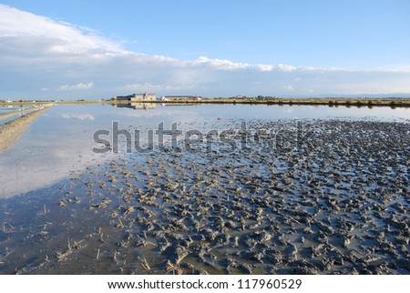 Scenic salt pan, Cervia, Ravenna, Italy - stock photo