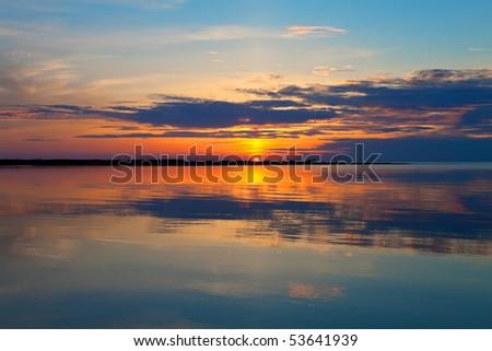 Scenic sea sunset - stock photo