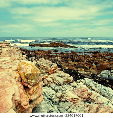 scenic seascape with sky, rocks and Atlantic ocean near Cape of Good Hope(South Africa) - stock photo