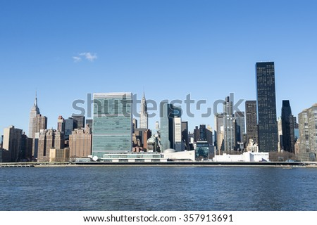 Scenic skyline view of Midtown Manhattan from across the East River in Queens, New York City