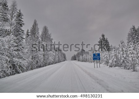 Scenic snow blizzard road in northern Finland in Winter just after snow blizzard