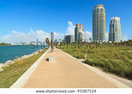 Scenic South Pointe Park in Miami Beach. - stock photo