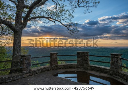 Scenic spring sunset, Kingdom Come State Park, Kentucky - stock photo