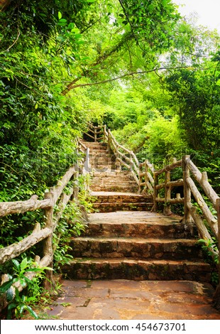 Scenic stone stairs among green foliage leading across tropical woods. Way through forest in summer season. - stock photo