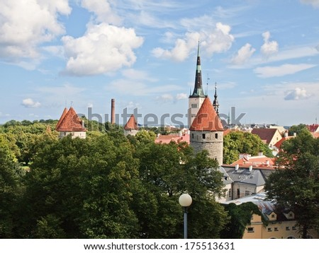 Scenic summer aerial panorama of Tallinn. Estonia.