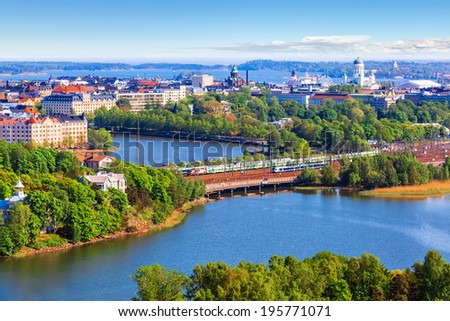 Scenic summer aerial panorama of the Old Town architecture in Helsinki, Finland - stock photo