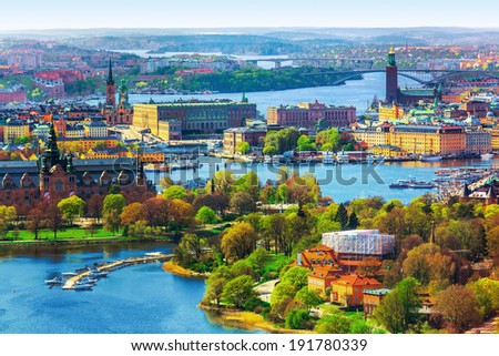 Scenic summer aerial panorama of the Old Town (Gamla Stan) architecture in Stockholm, Sweden - stock photo