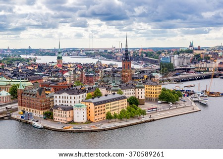Scenic summer aerial panorama of the Old Town (Gamla Stan) in Stockholm, Sweden in a summer day