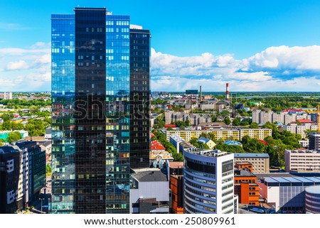 Scenic summer aerial view of modern business financial district with tall skyscraper buildings in Tallinn, Estonia - stock photo