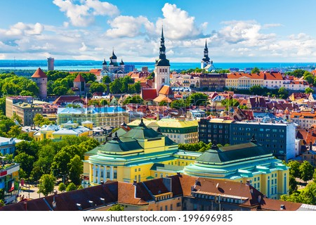 Scenic summer aerial view of the Old Town architecture in Tallinn, Estonia - stock photo