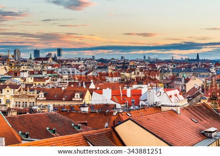 Scenic summer aerial view of the Old Town architecture with terracotta roofs in Prague , Czech Republic