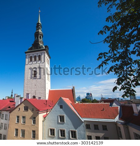 Scenic summer beautiful aerial skyline panorama of the Old Town in Tallinn, Estonia  - stock photo