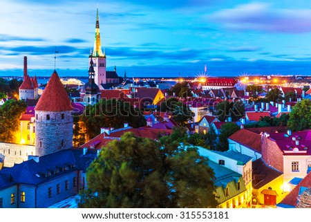 Scenic summer evening aerial view of the Old Town architecture at the Toompea Hill in Tallinn, Estonia - stock photo