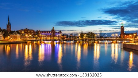 Scenic summer evening panorama of the Old Town (Gamla Stan) in Stockholm, Sweden - stock photo