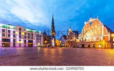 Scenic summer evening view of the City Hall Square in the Old Town of Riga, Latvia - stock photo
