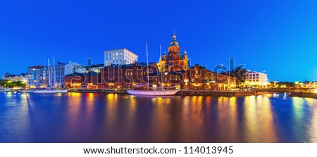 Scenic summer night panorama of the Old Town in Helsinki, Finland - stock photo