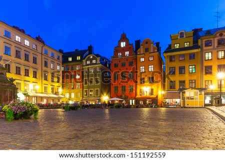 Scenic summer night view of the Big Square (Stortorget) in the Old Town (Gamla Stan) in Stockholm, Sweden - stock photo