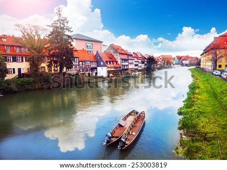 Scenic summer panorama of the Old Town pier architecture in Bamberg, Bavaria, Germany - stock photo