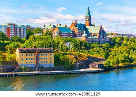 Scenic summer panorama of the Old Town pier architecture in Stockholm, Sweden - stock photo