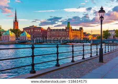Scenic summer sunset in the Old Town (Gamla Stan) in Stockholm, Sweden - stock photo