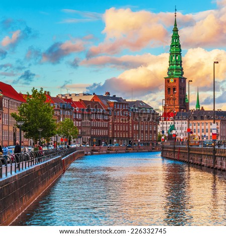 Scenic summer sunset in the Old Town of Copenhagen, Denmark - stock photo