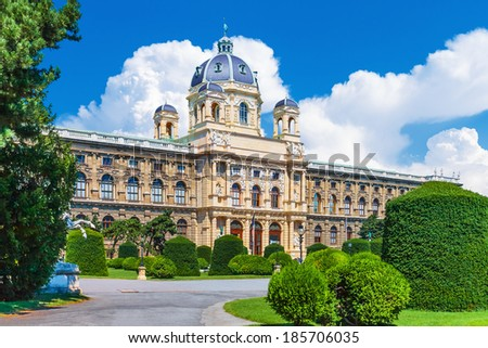 Scenic summer view of Museum of Art History (Kunsthistorisches Museum) in the Old Town in Vienna, Austria - stock photo